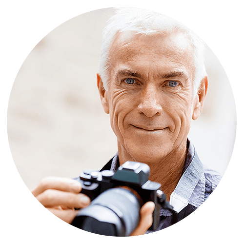 Older Man With Camera in Circle